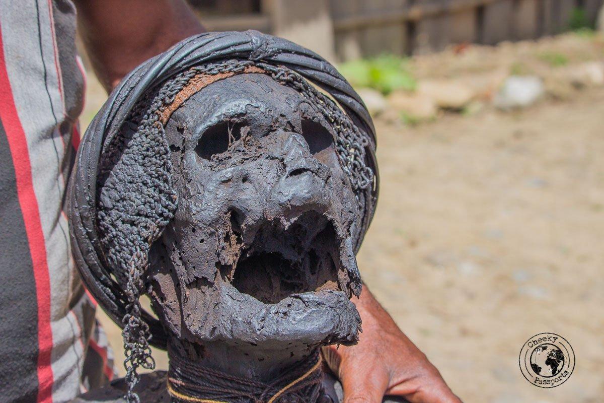 A Closeup of Wimontok Mabel, the Jiwika mummy, Baliem Valley, Papua