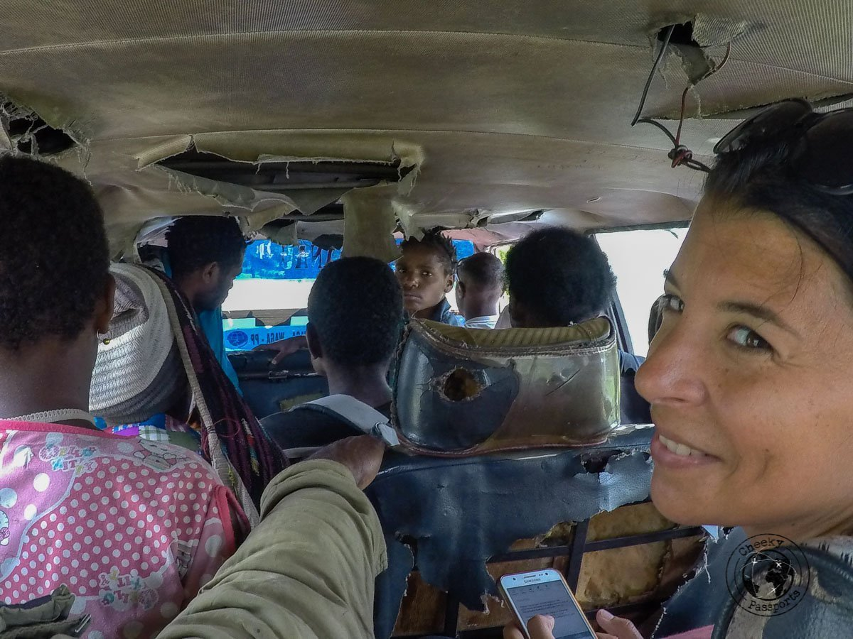 An adventure on the run down public buses of Wamena which did not contribute significantly to our travel expenses in Indonesia