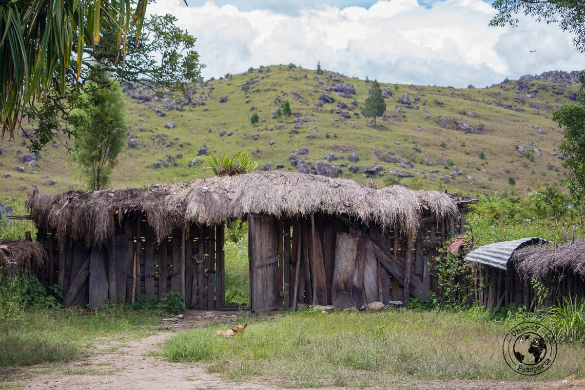 Entance to the Aikima village - The Tribes and Mummies of the Baliem Valley, Papua