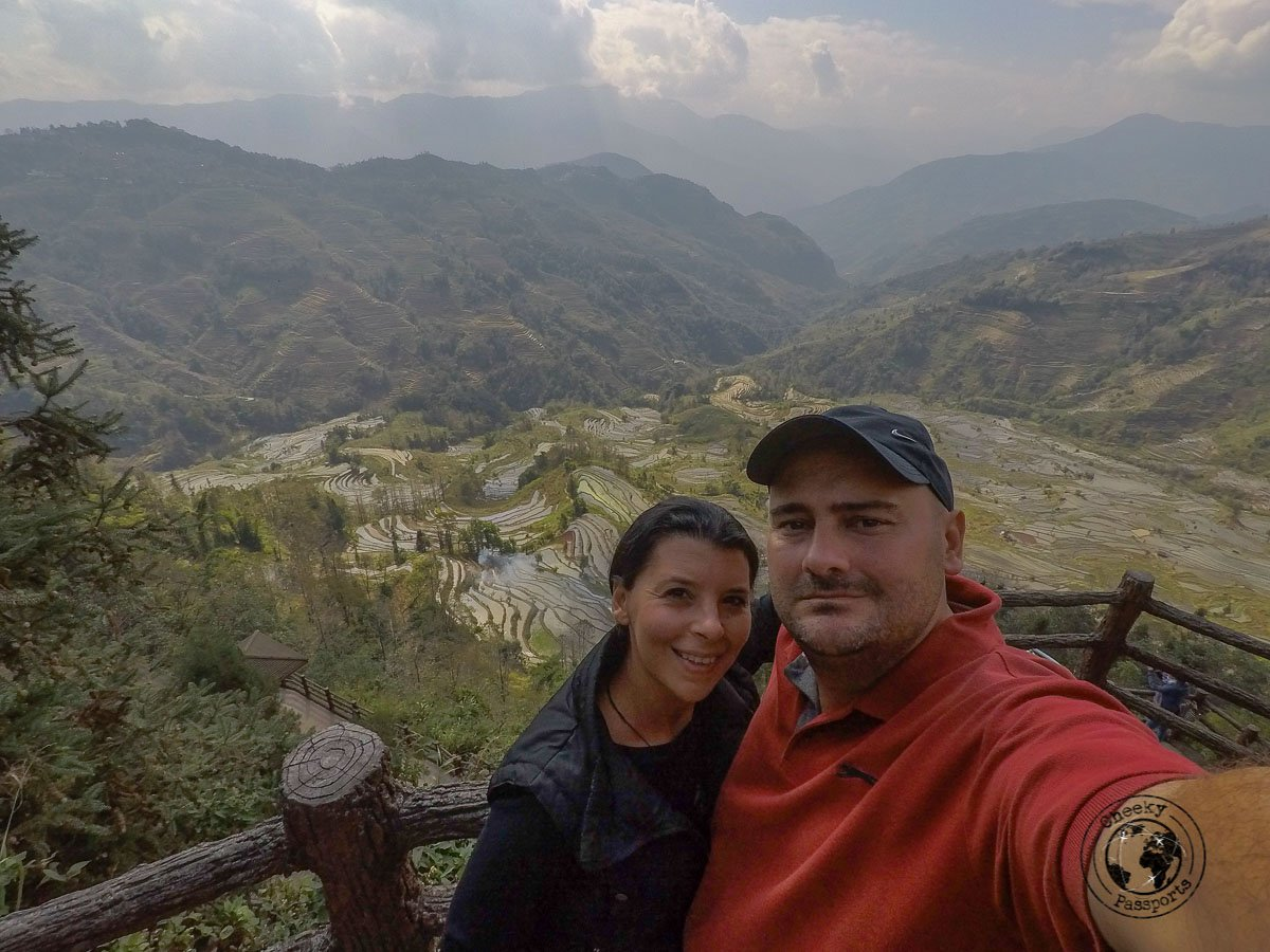 Michelle and Nikki at the viewpoint- How to visit the Yuanyang Rice Terraces, Yunnan, China