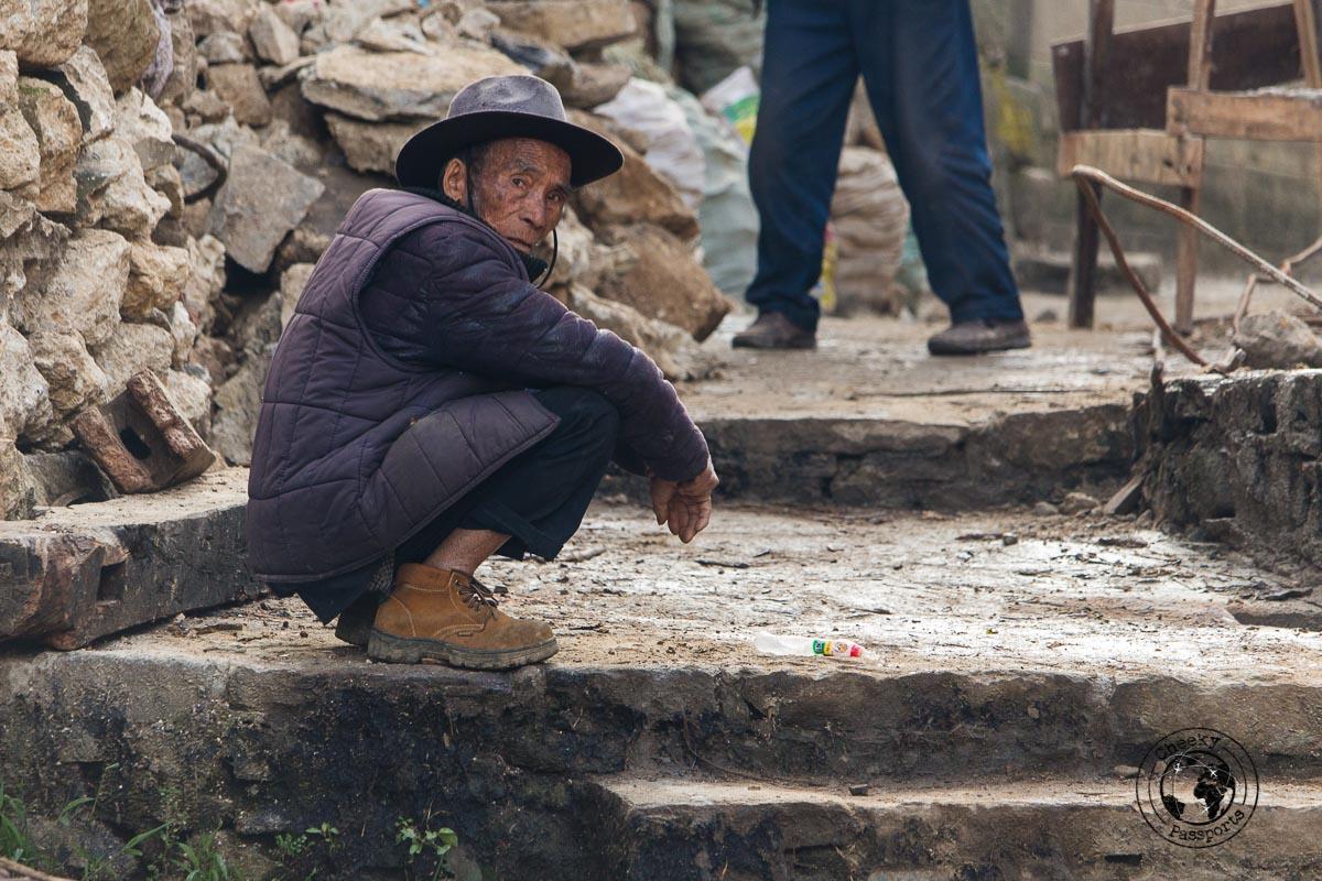 Old man at the mushroom Village - How to visit the Yuanyang Rice Terraces, Yunnan, China