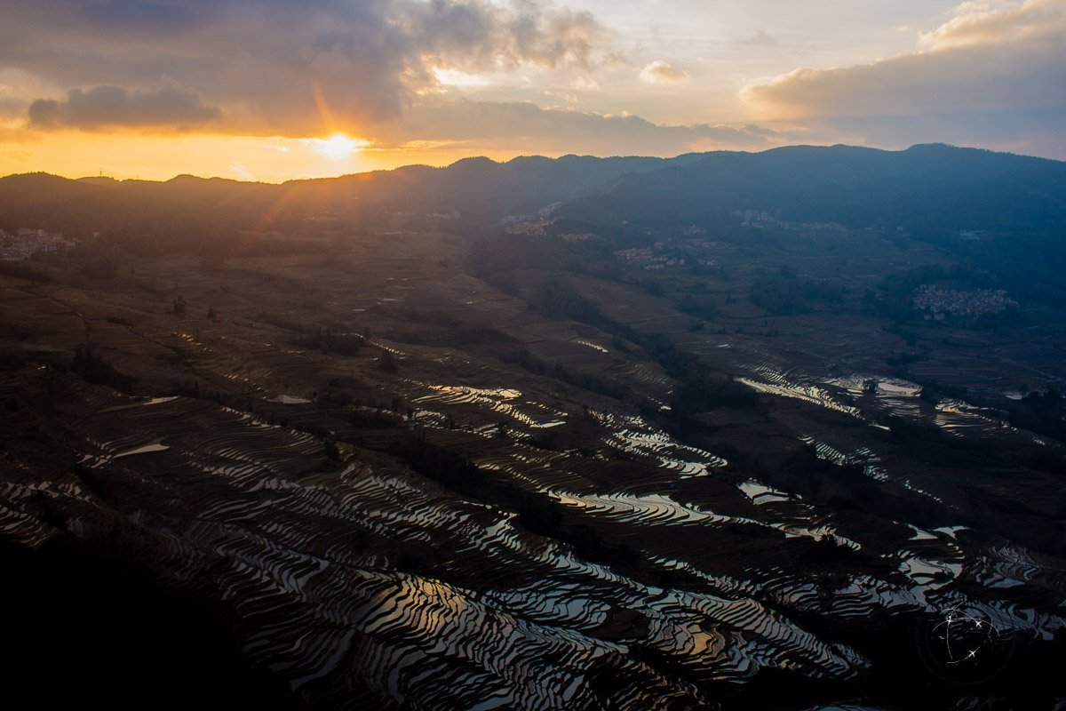 Sunset at the Bada Scenic Area - How to visit the Yuanyang Rice Terraces, Yunnan, China