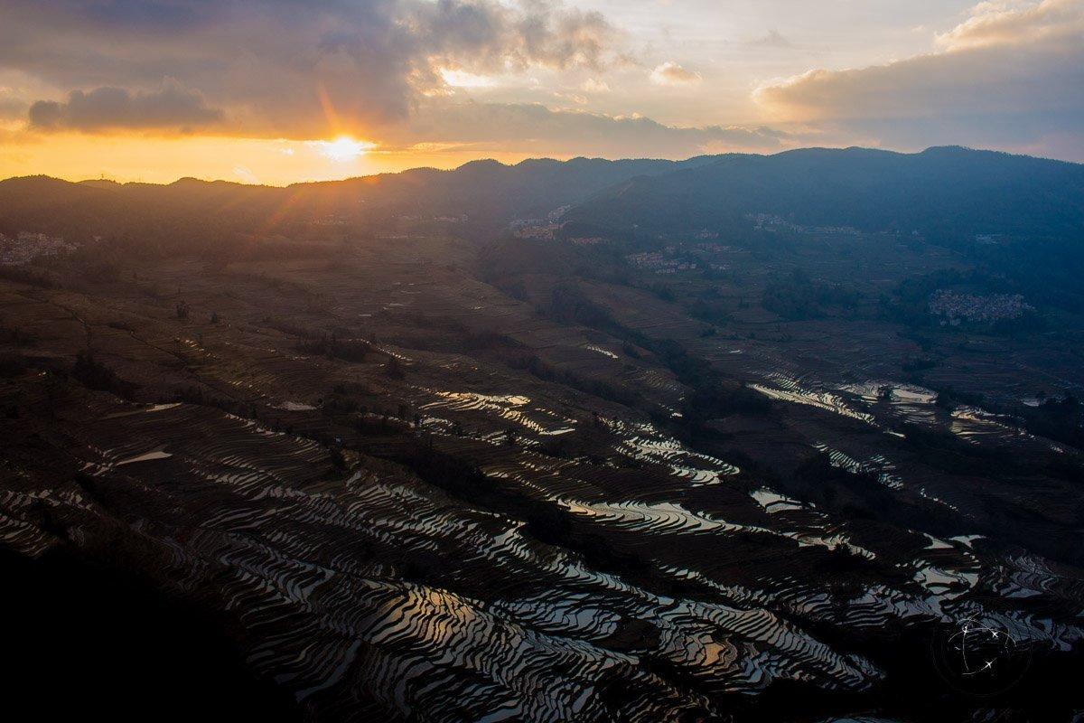 Sunset at the Bada Scenic Area - How to visit the Yuanyang Rice Terraces, Yunnan, China