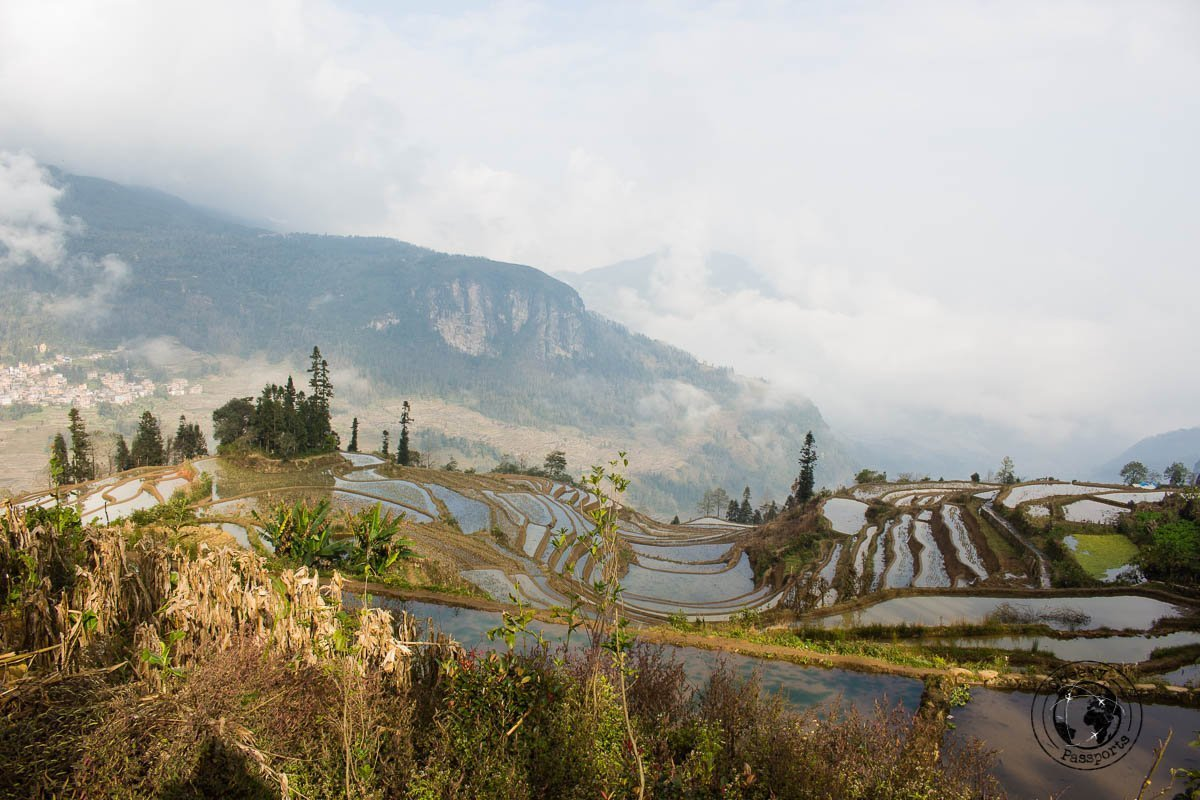 The clouded view at the mushroom village viewpoint - How to visit the Yuanyang Rice Terraces, Yunnan, China