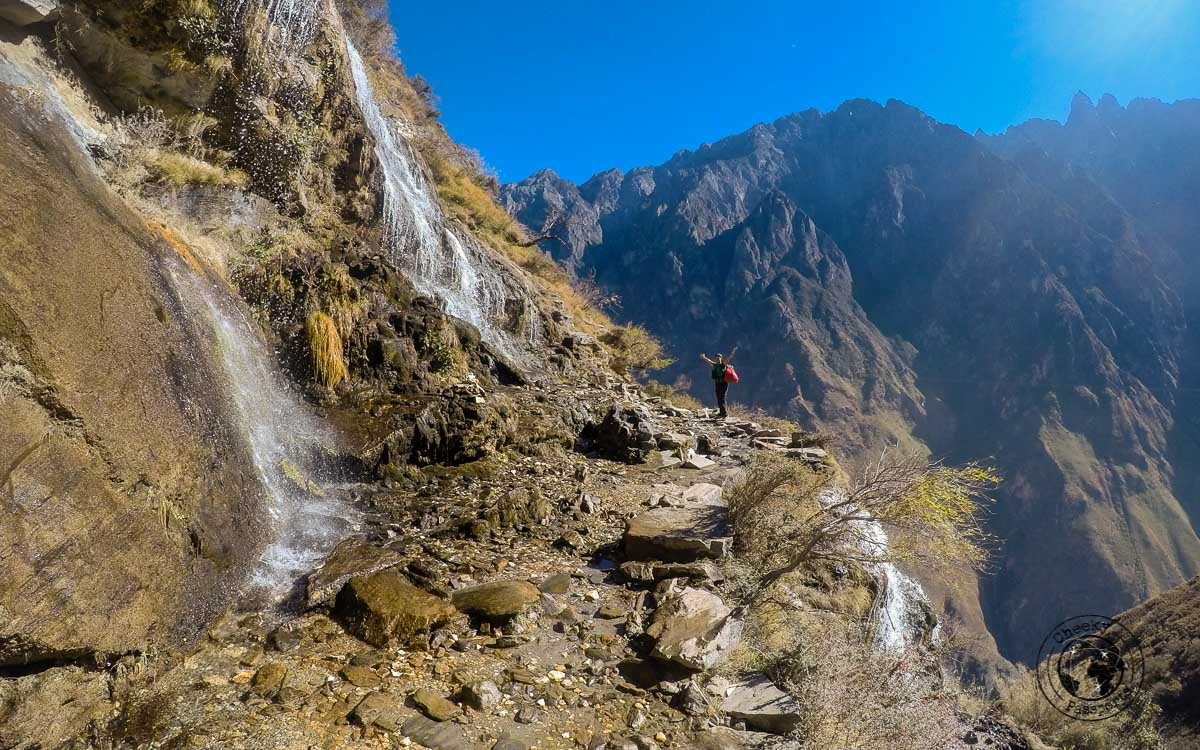 Waterfalls and Landslides can render the Tiger leaping gorge hike more challenging