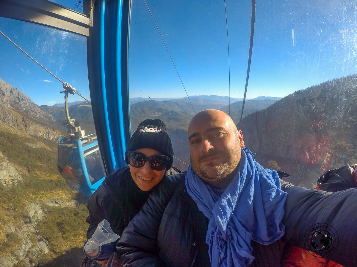 On top of the cable car to the Jade dragon snow mountain