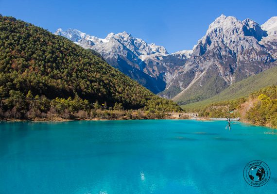 The azure waters of the Blue Moon Valley at the Jade Dragon Stone Mountain Park