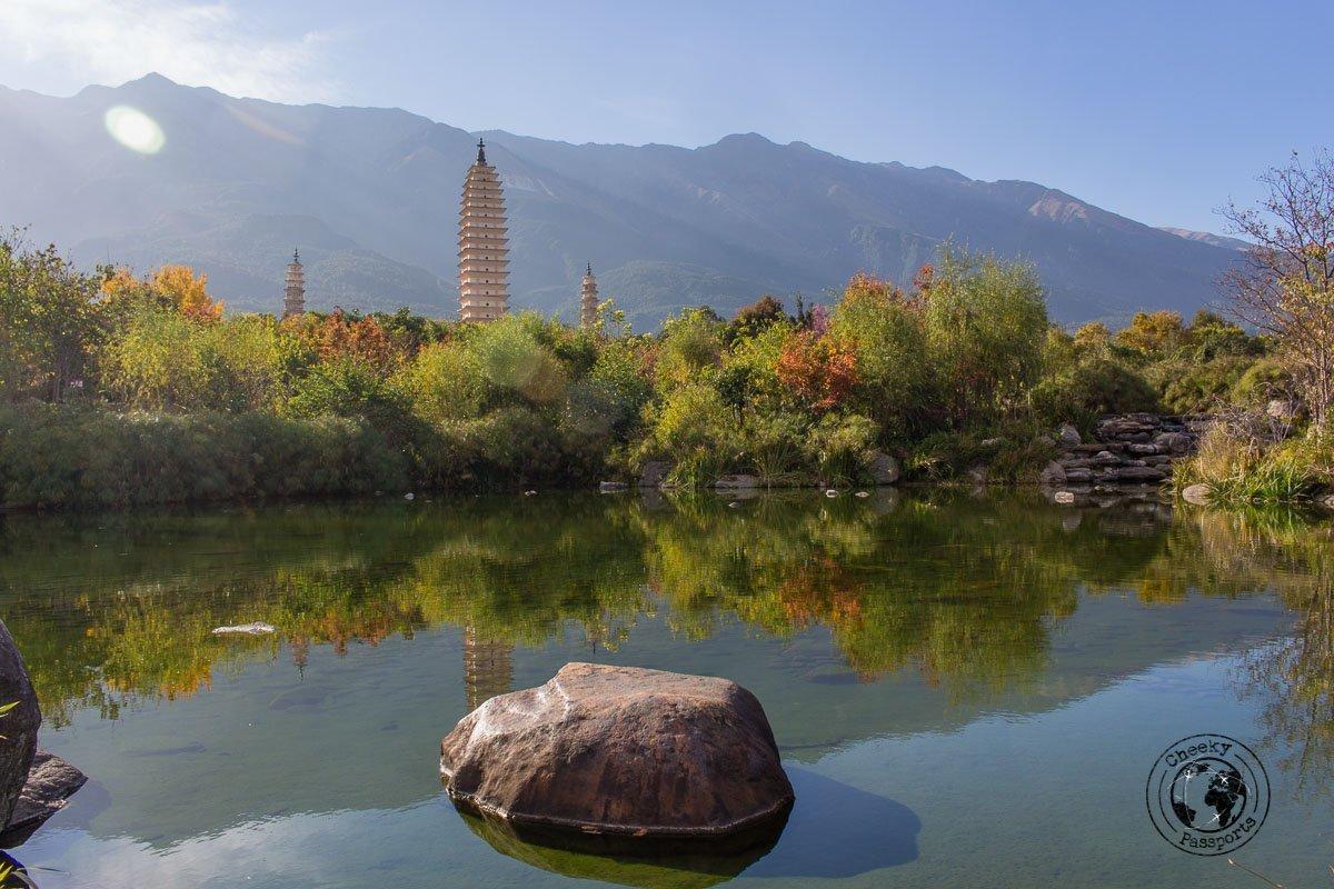 Panoramic view of the three pagodas in Dali - Yunnan Travel - A two-week Yunnan itinerary