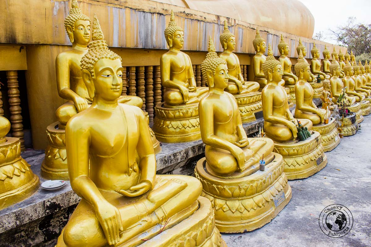 Many Buddha statues at Vat Chompet - Itinerary for Biking the Bolaven Plateau Loop