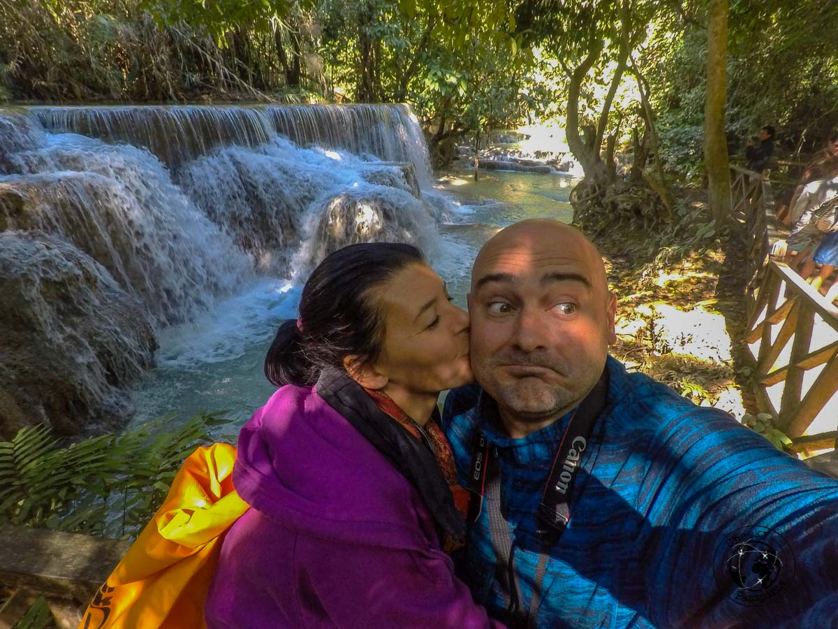 Michelle and Nikki at the Kuang si Falls - What to do in Laos