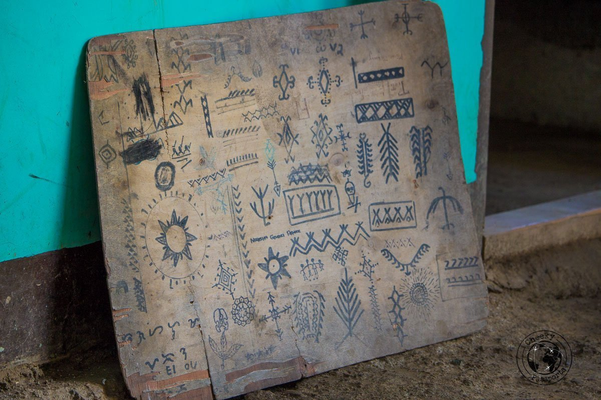 The 'menu' board, the selection of Philippine tribal tattoos which Whang-od may provide