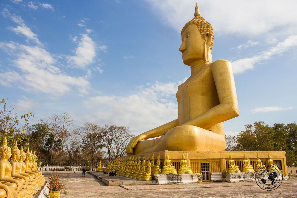 Vat Chompet massive seated Buddha - Itinerary for Biking the Bolaven Loop