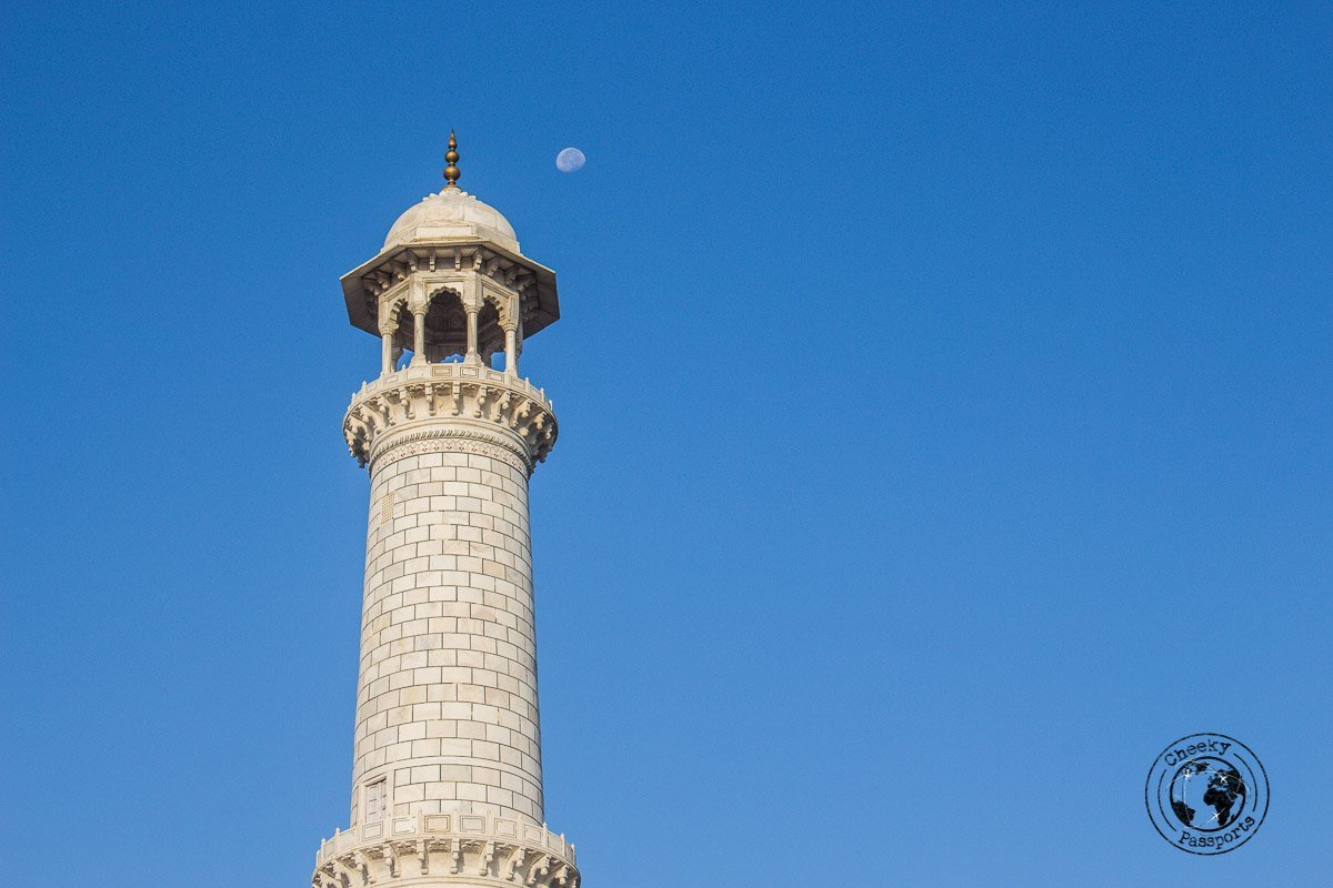 A minaret of the Taj Mahal - Your Guide to Seeing Sunrise at Taj Mahal
