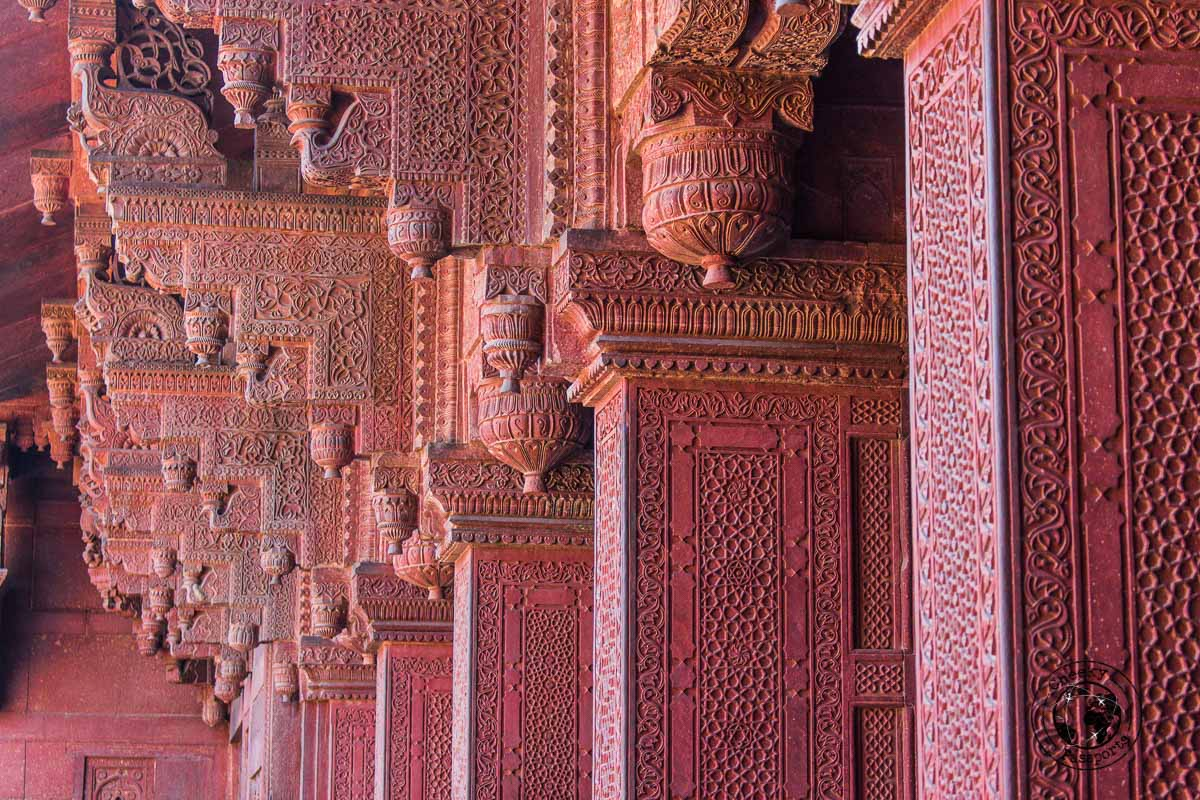Intricate architecture at the red fort in Agra - Your Guide to Seeing Sunrise at Taj Mahal