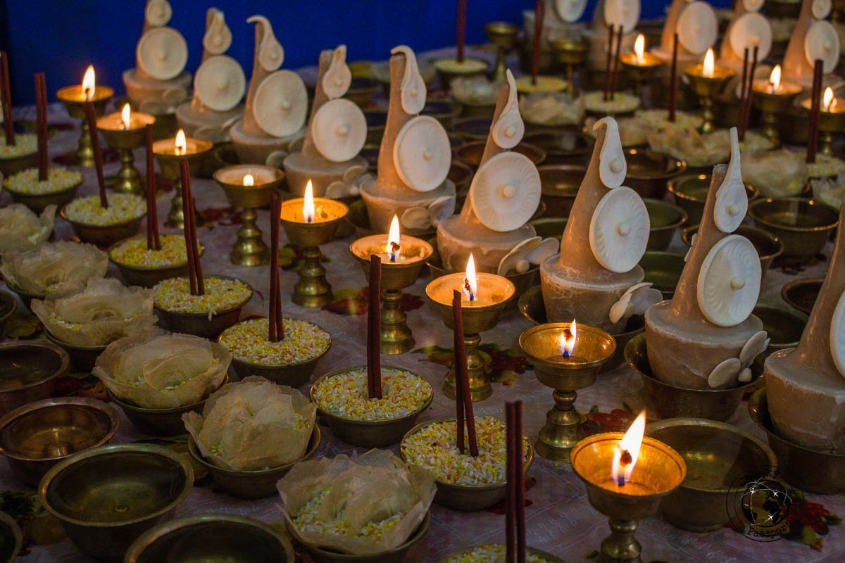 Butter lamps at the Bomdila Monastery - Explore Dirang and Bomdila in Arunachal Pradesh - Northeast India Travel