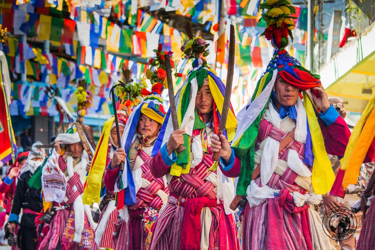 Colourful ceremonial costumes at the Tawang Festival - Guide to Sela Pass, Tawang Monastery and other Places to Visit in Tawang