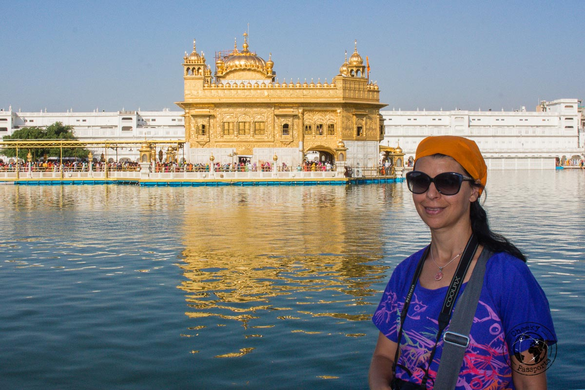 Michelle can't miss a photo opportunity with the golden temple - Top Places to Visit in Amritsar