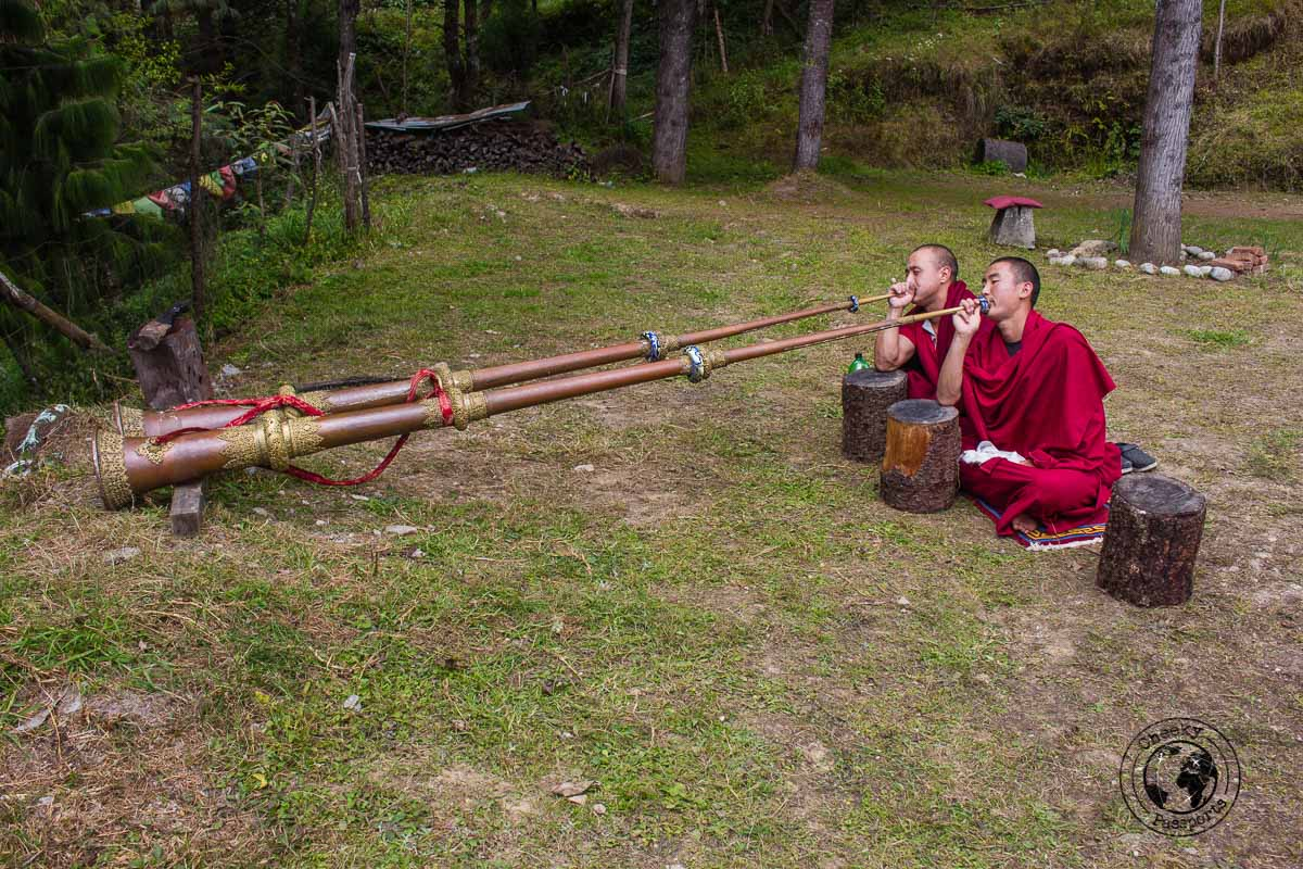 Monks practicing with their horns at the bomdila monastery - Explore Dirang and Bomdila in Arunachal Pradesh - Northeast India Travel