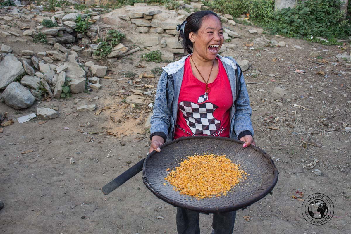 Preparing corn - Explore Dirang and Bomdila in Arunachal Pradesh - Northeast India Travel