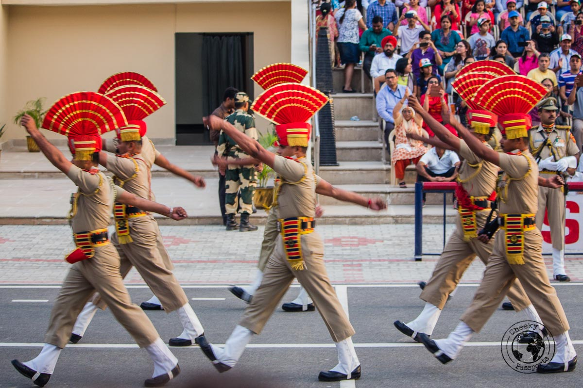 Soldier formation at the Wagah Border Ceremony - Top Places to Visit in Amritsar