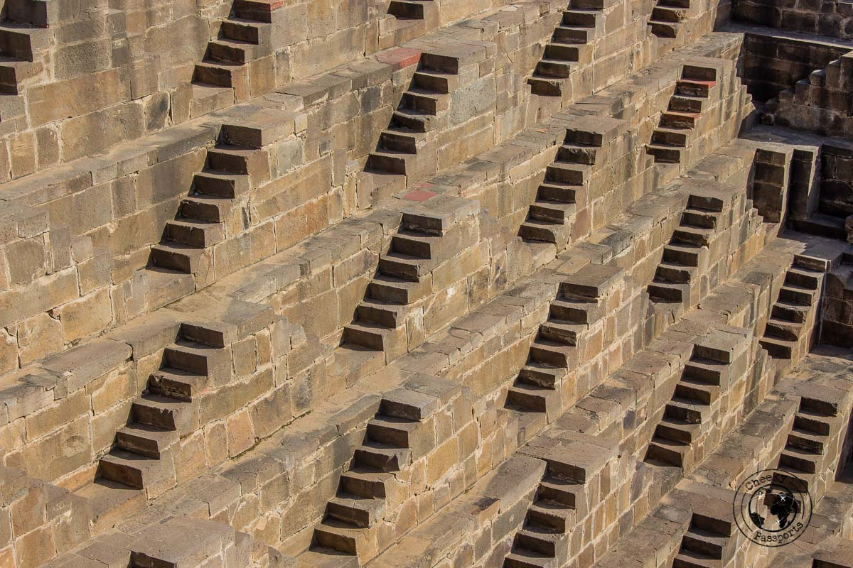 The many steps of the Chand Baori Stepwell - The Best Tourist Places in Jaipur