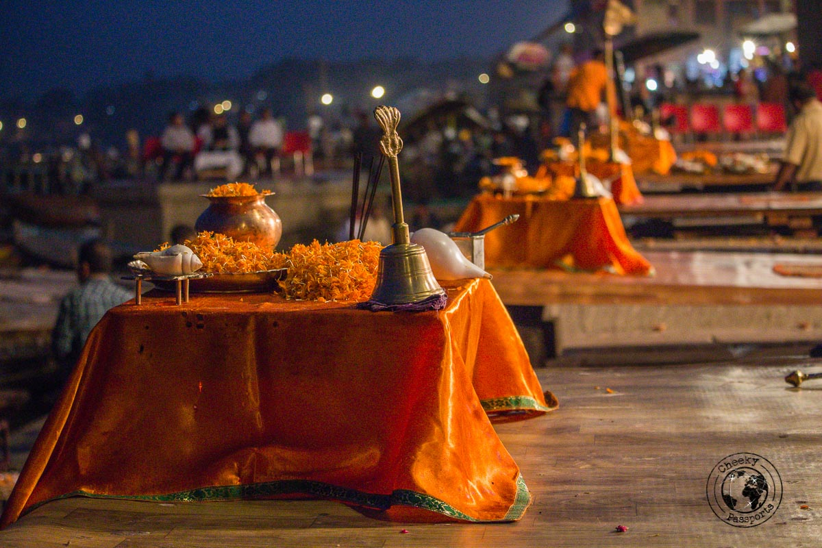 props at the aarti ceremony - The Best Places to Visit in Varanasi and Other Things to Do in the Holy City