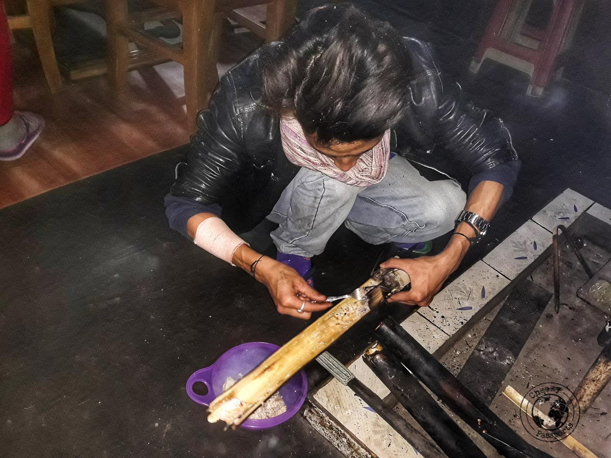Chicken cooked in Bamboo at the homestay in Ziro Valley -North East India Travel Guide