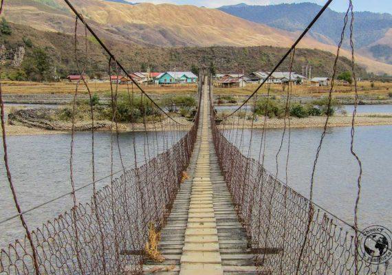 Double suspension bridge in mechuka
