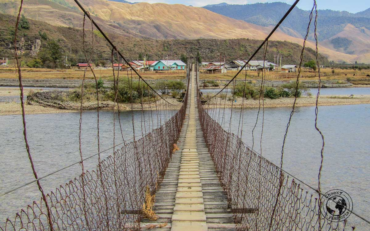 Double suspension bridge in mechuka