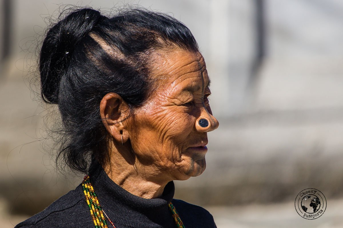 Face tattoo and nose plug of the apatani women in the Ziro Valley