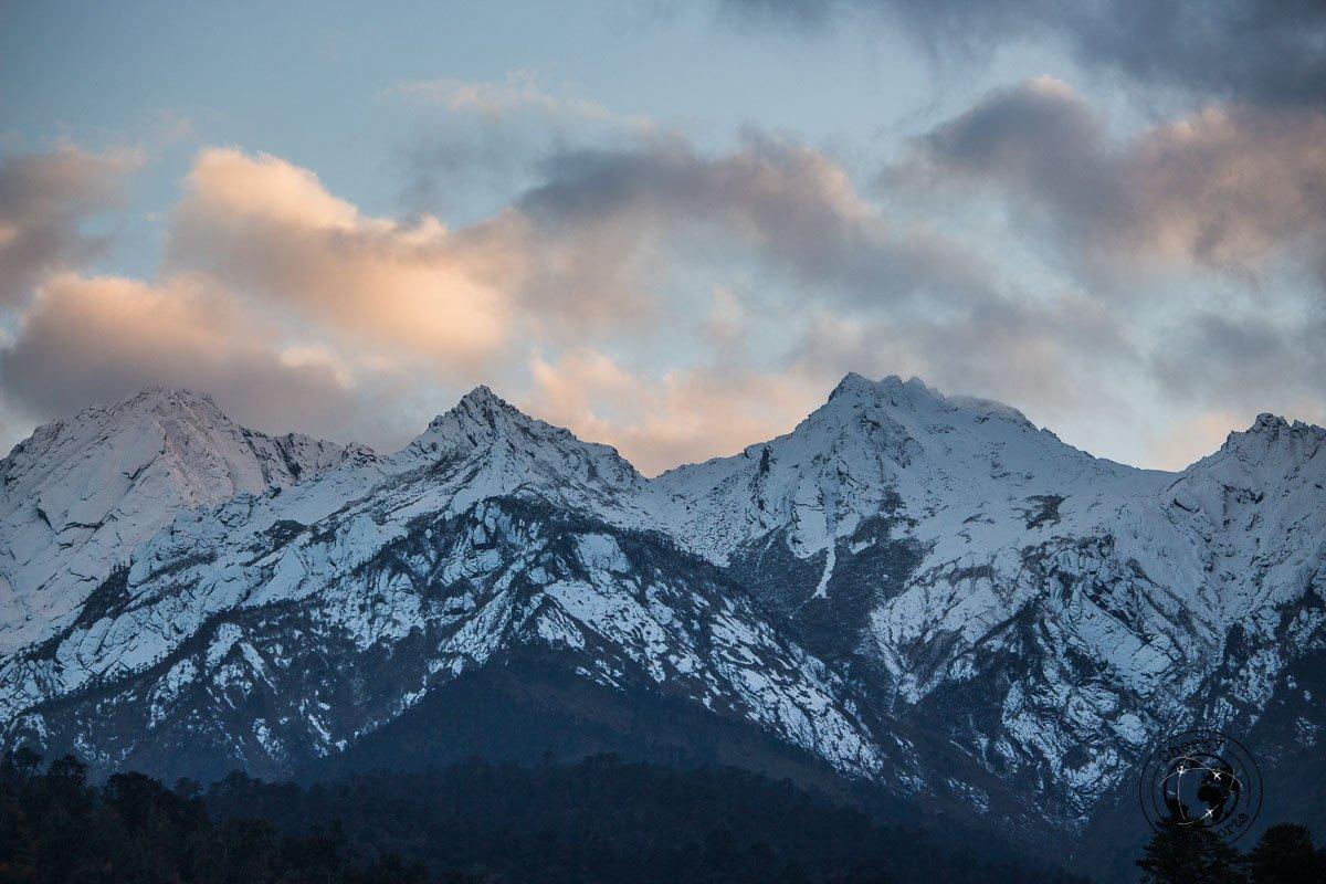 Snow capped mountains adorning the panorama of Mechuka, Arunachal Pradesh