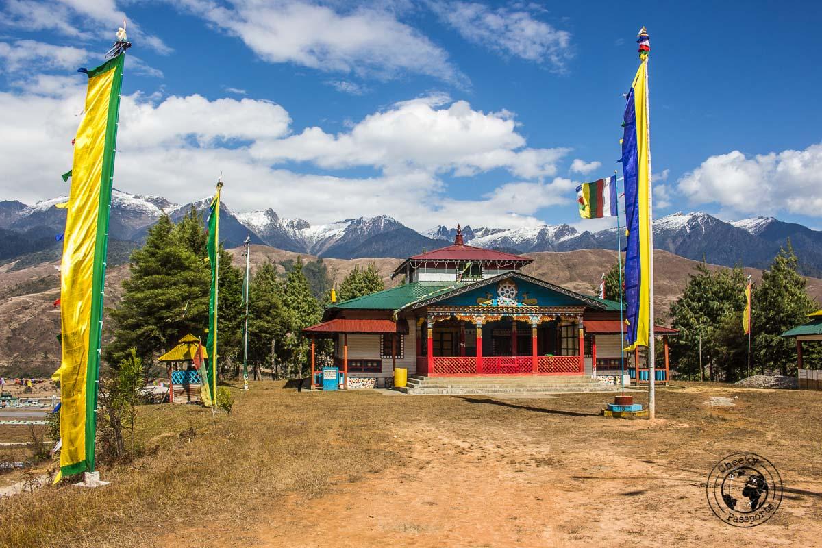 The new gompa monastery overlooking the valley of Mechuka, Arunachal Pradesh