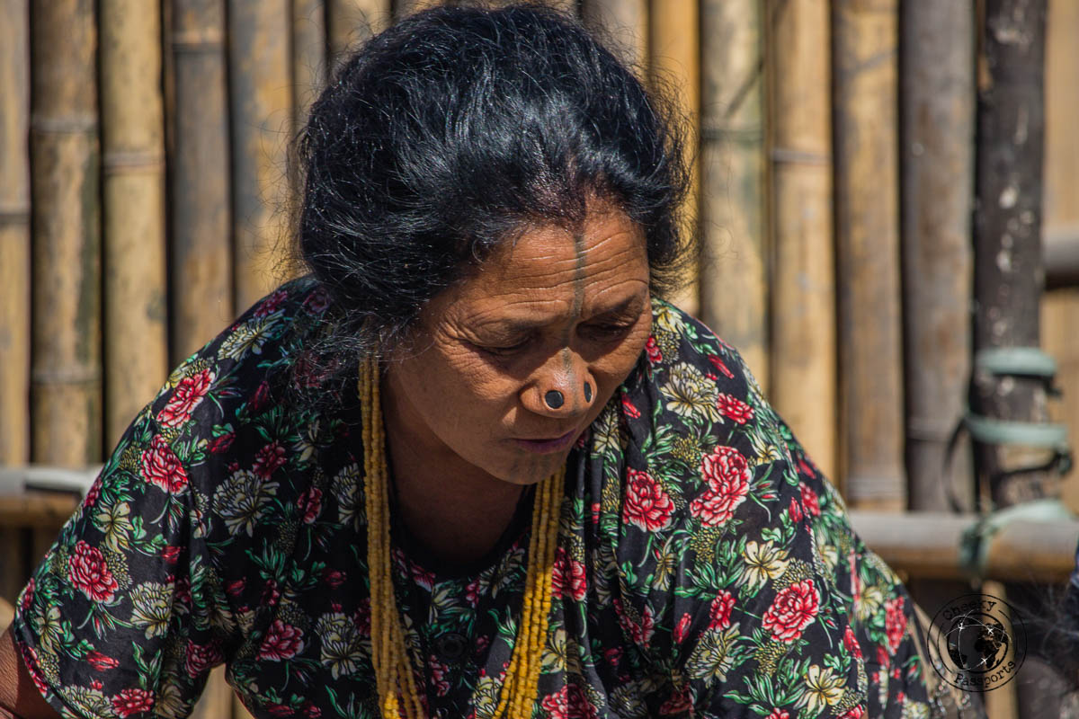 The tattooed woman at the Ziro Valley - Places to visit in Arunanchal Pradesh Itinerary