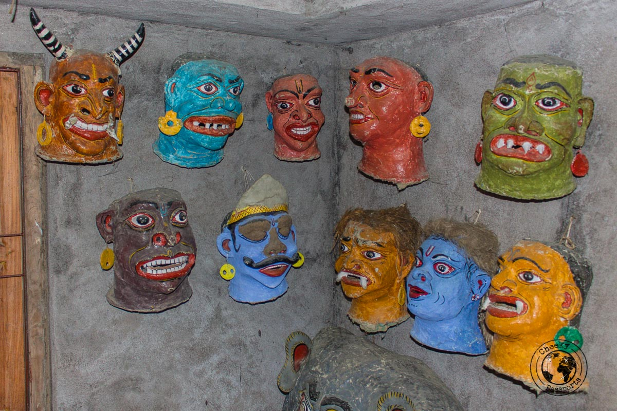 Display of masks in Majuli - The Magic of Majuli Island – One of the Best Places to Visit in Assam