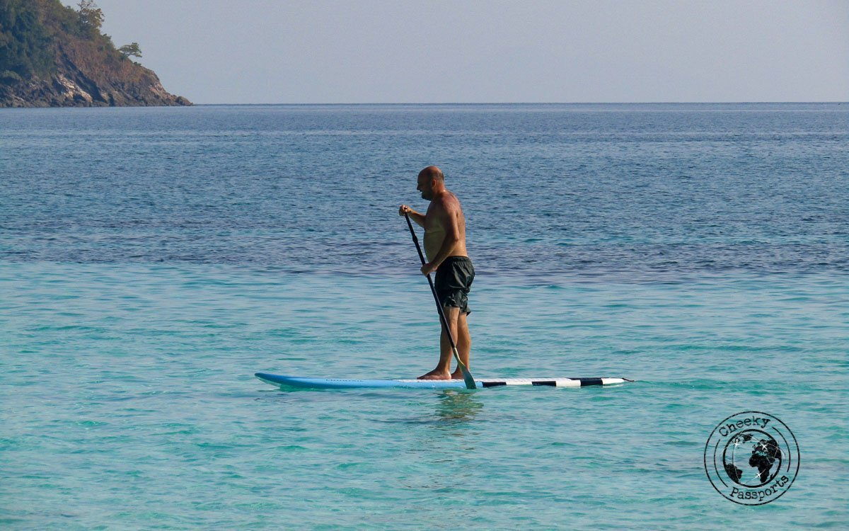 Nikki testing the SUP provided by the Sea Gypsy