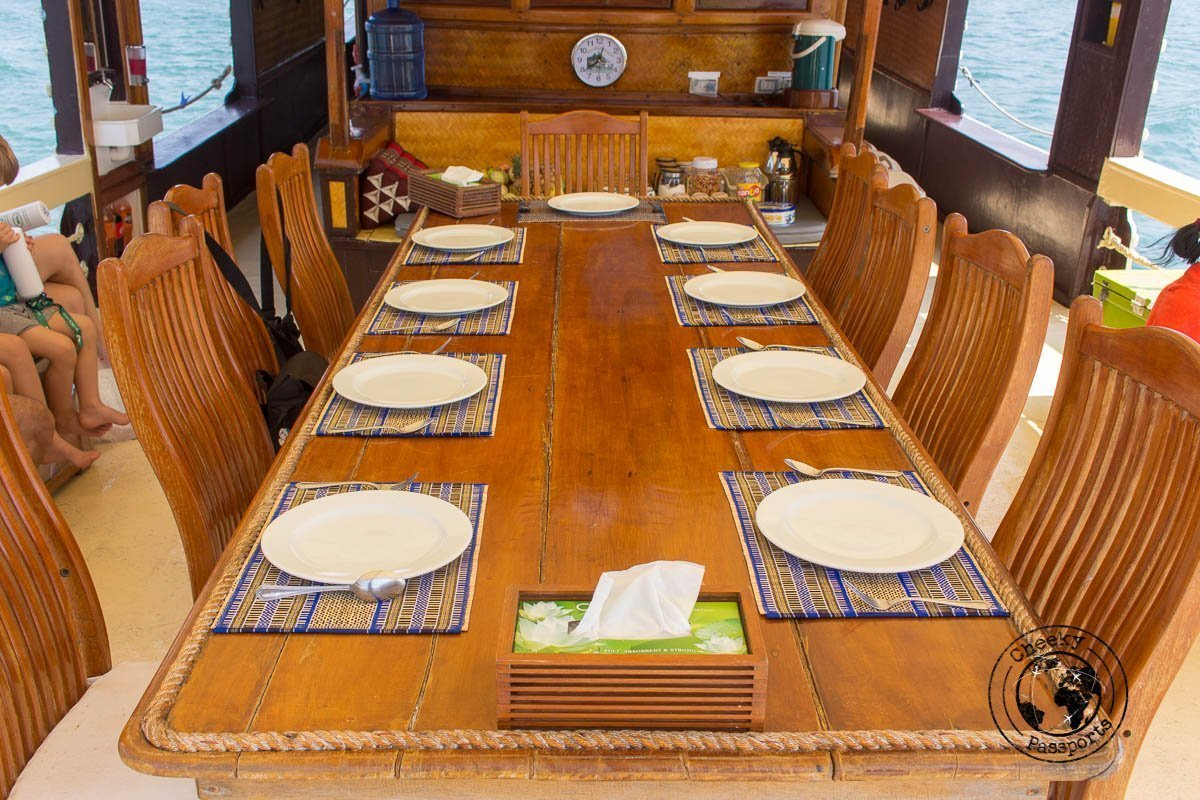 The dinner table on the Sea Gypsy