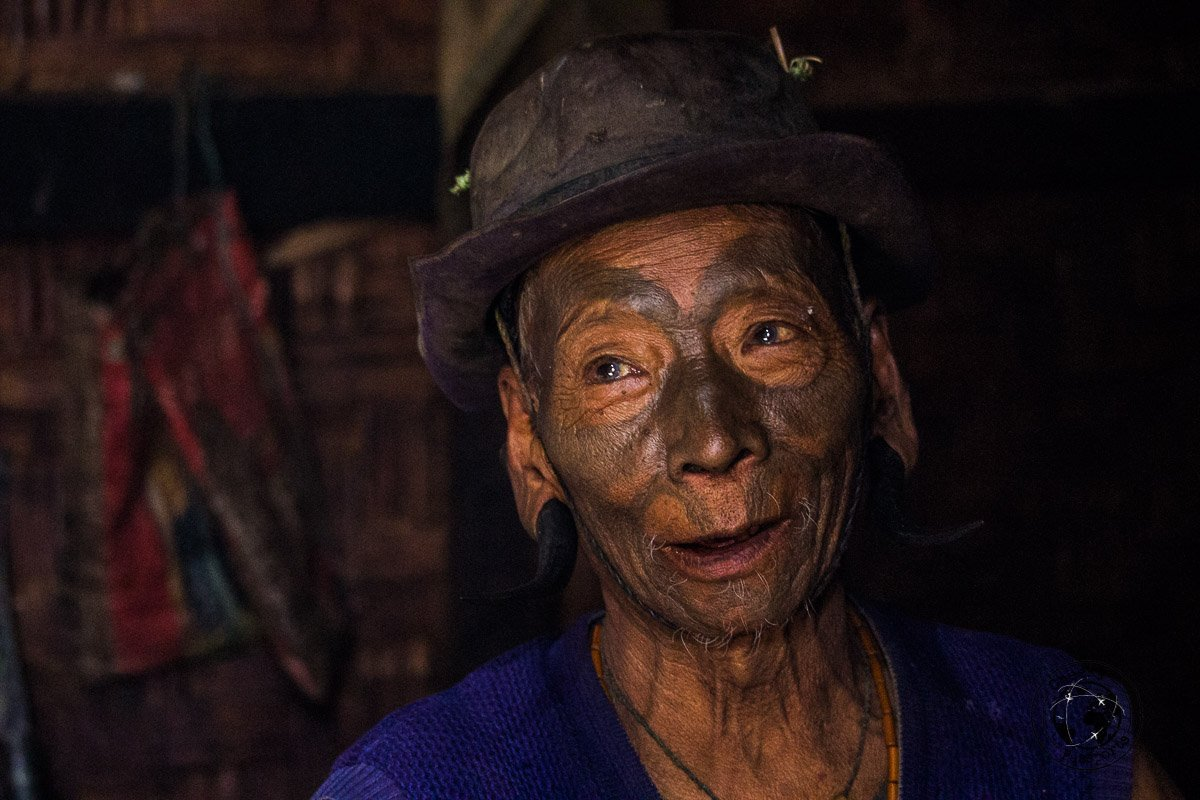 The face painted former headhunters of the Konyak tribe