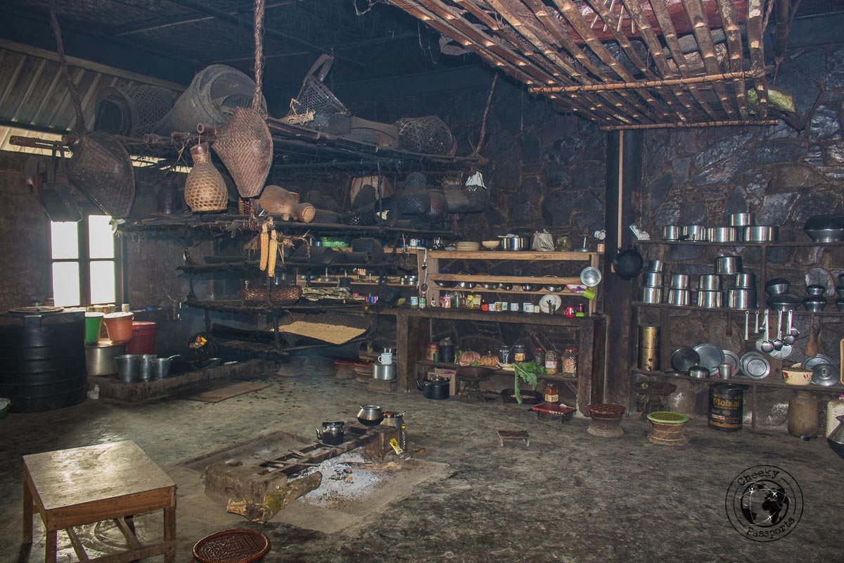 The kitchen at the Angh's house in Longwa. commanding great views of Longwa and Myanmar
