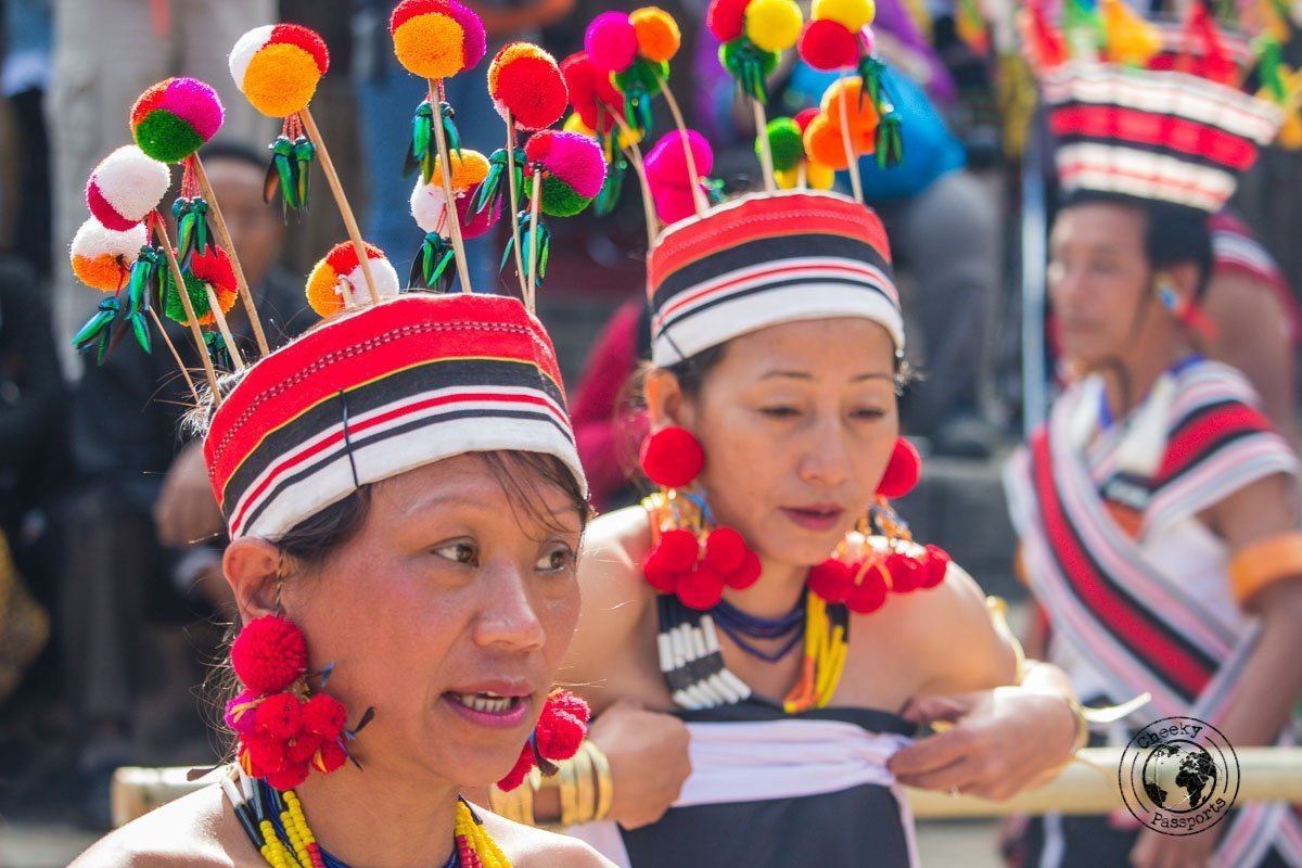 Colourful decorative costumes of the Naga people