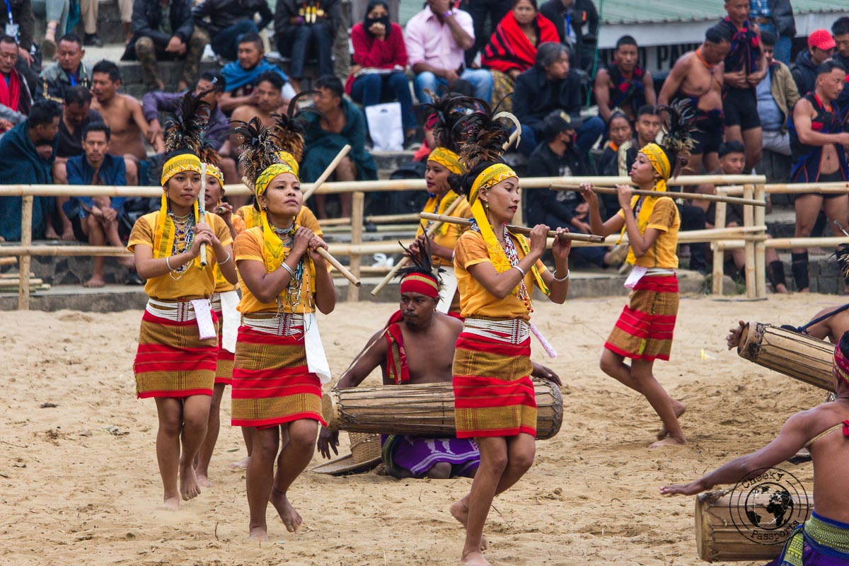 Coordinated dances at the Hornbill Festival
