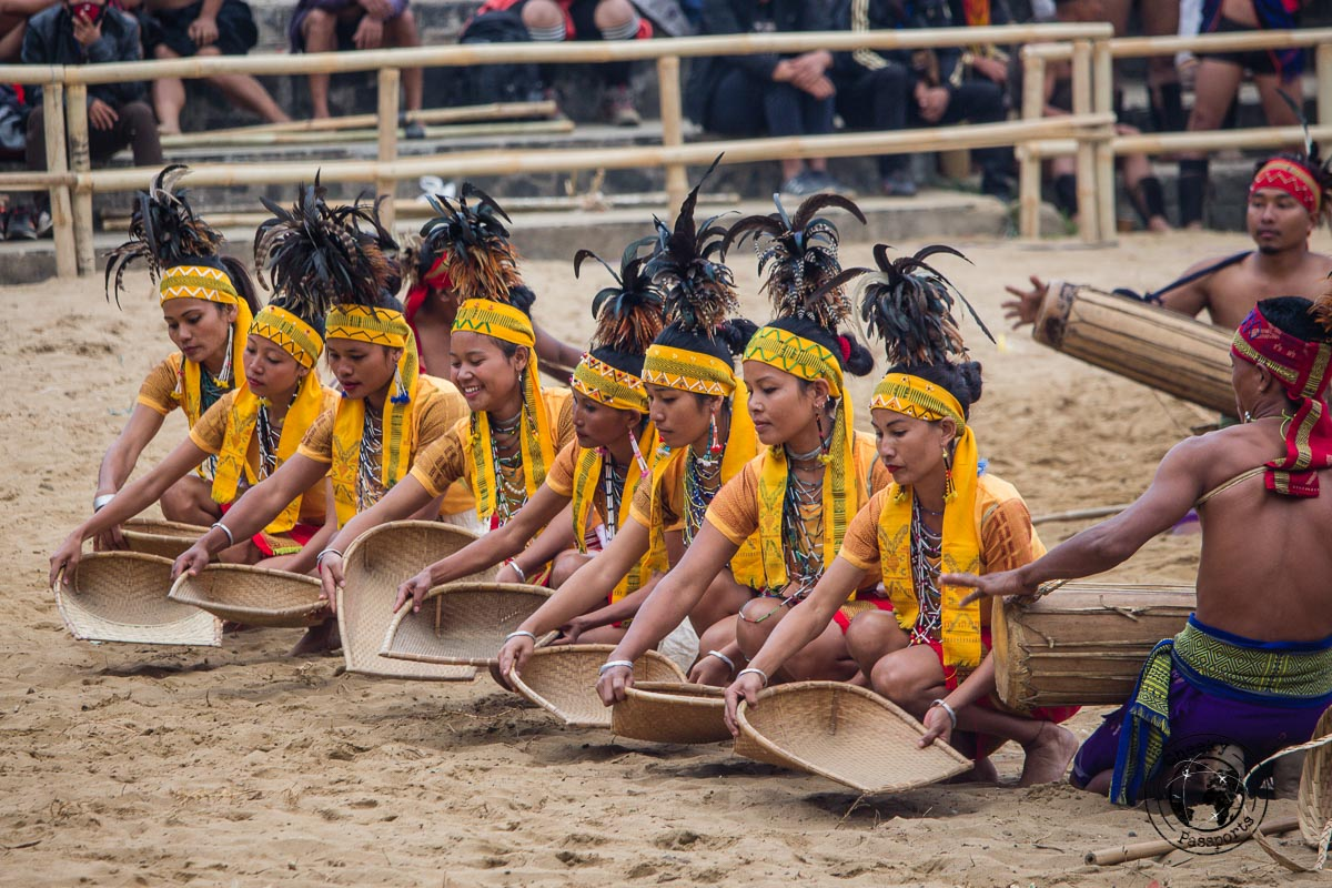 Demonstrations of farmwork in traditional naga costumes