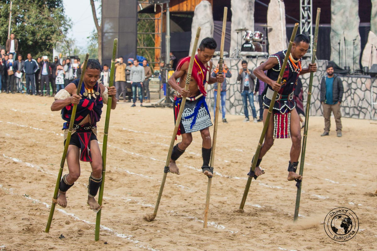 Stilt racing competitions between Naga tribes