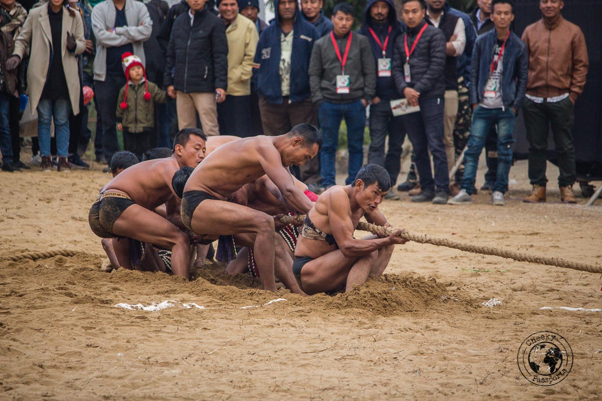 The Tug of war competition between tribes of Nagaland