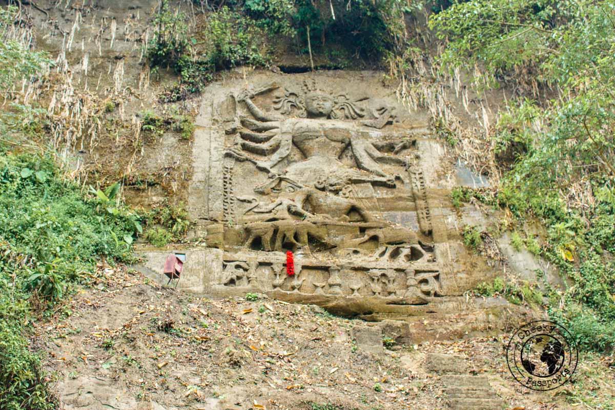 Chiabimura Rock Carvings on the riverside in Tripura