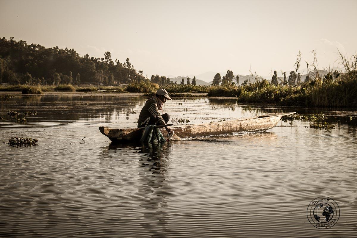 Fishing for eel at loktak lake in manipur