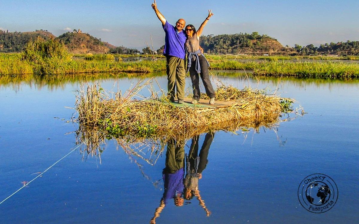 Fooling around on the phumdis at Loktak Lake
