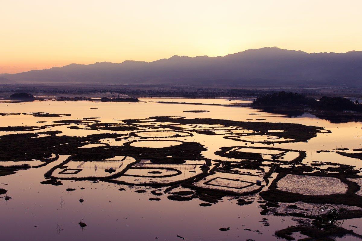 Sunset over Loktak lake, Imphal, Manipur
