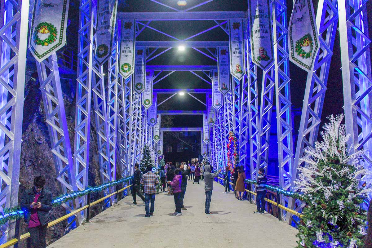 Christmas decorations of a bridge in Aizawl, Mizoram