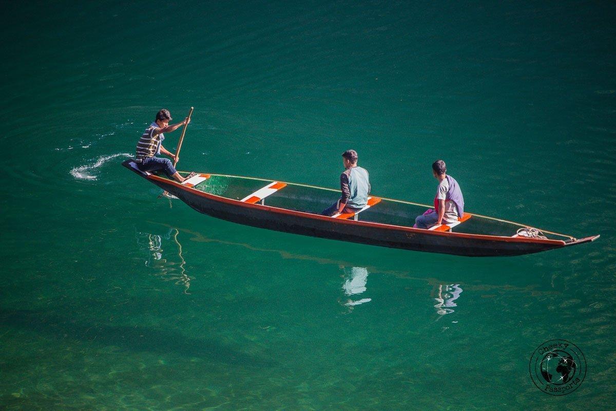 Clear waters at the dawki river in meghalaya