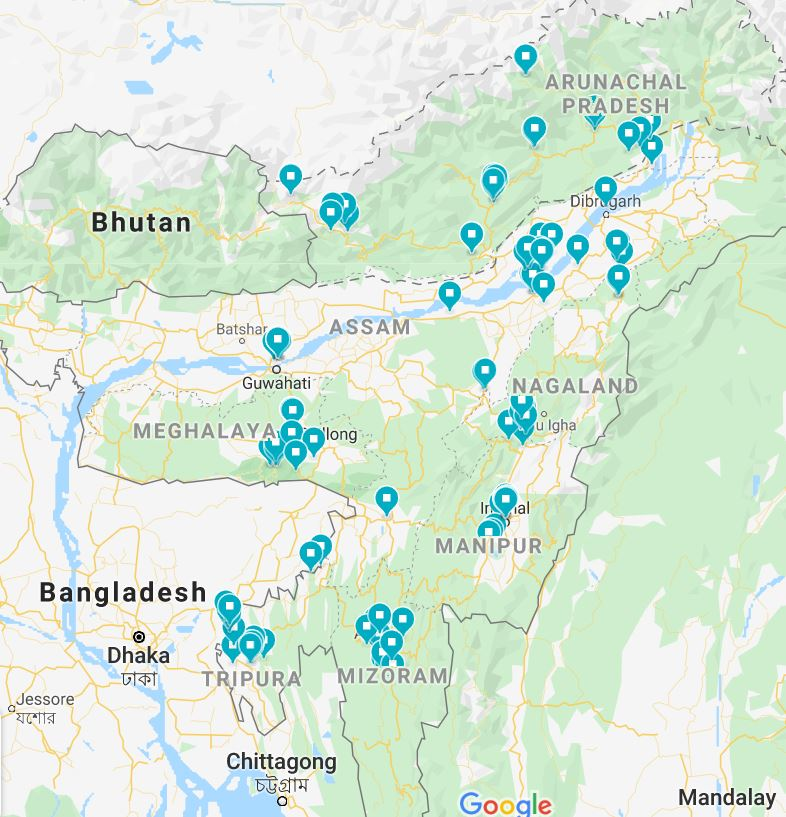 Northeast India itinerary map